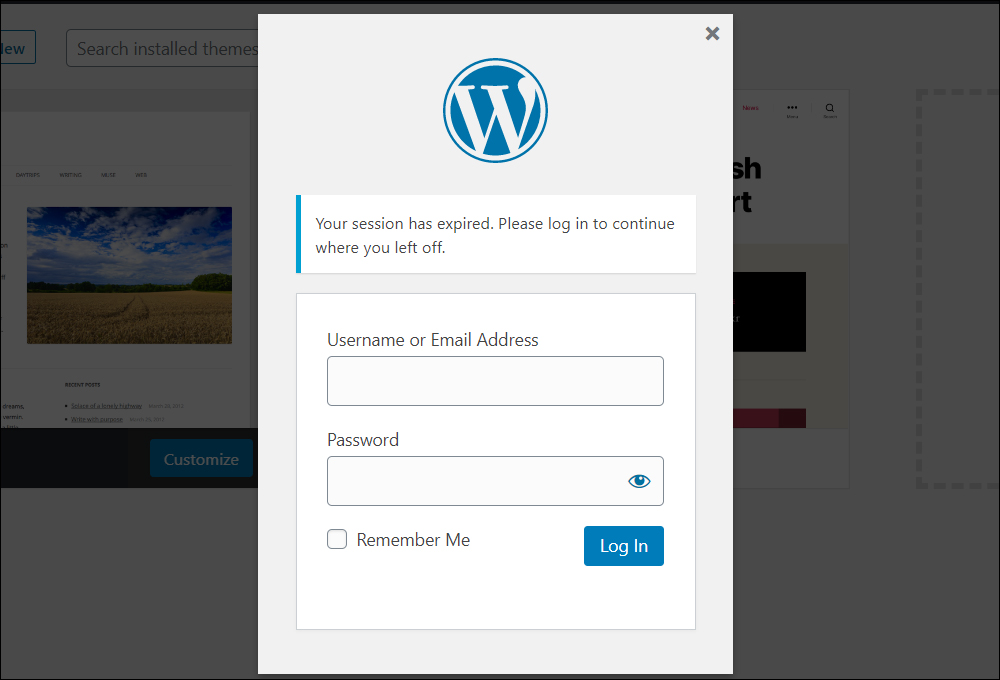 Expired WordPress sessions require logging in again