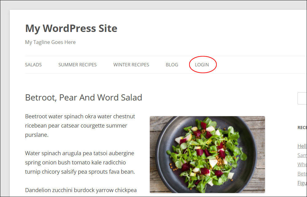 Wordpress login link added to main menu.