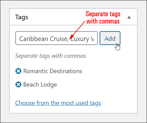 Adding multiple tags.