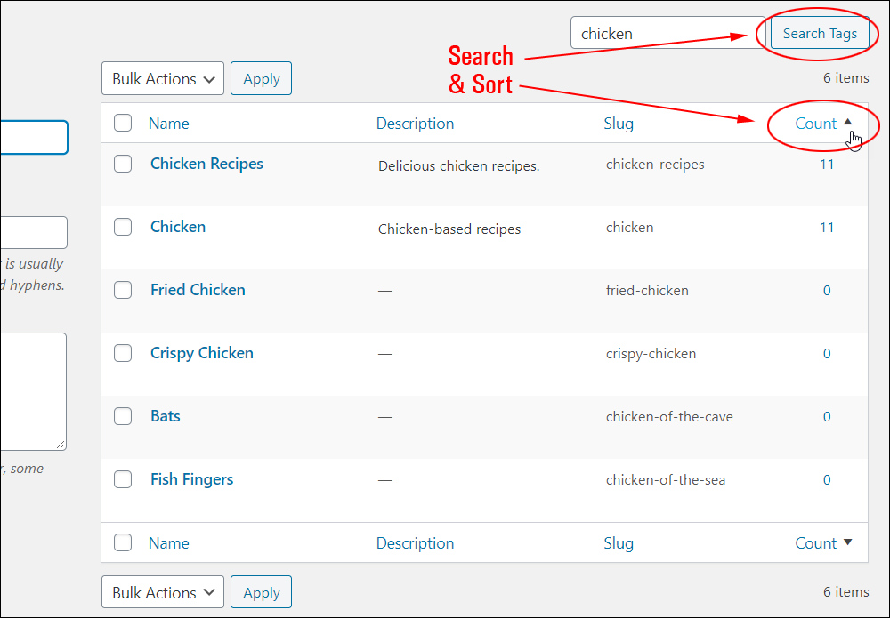 Search and sort functions on the Tags screen.