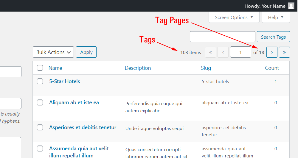 Tags screen - Tag Pages feature.