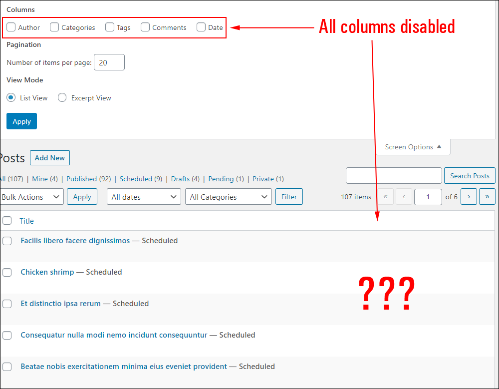 Table of Posts - All columns disabled.