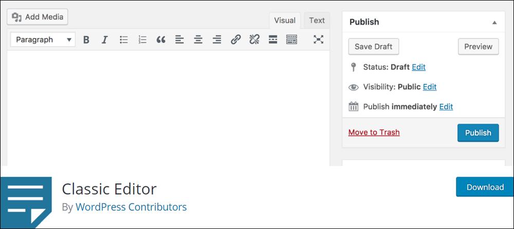 WordPress Classic Editor plugin.