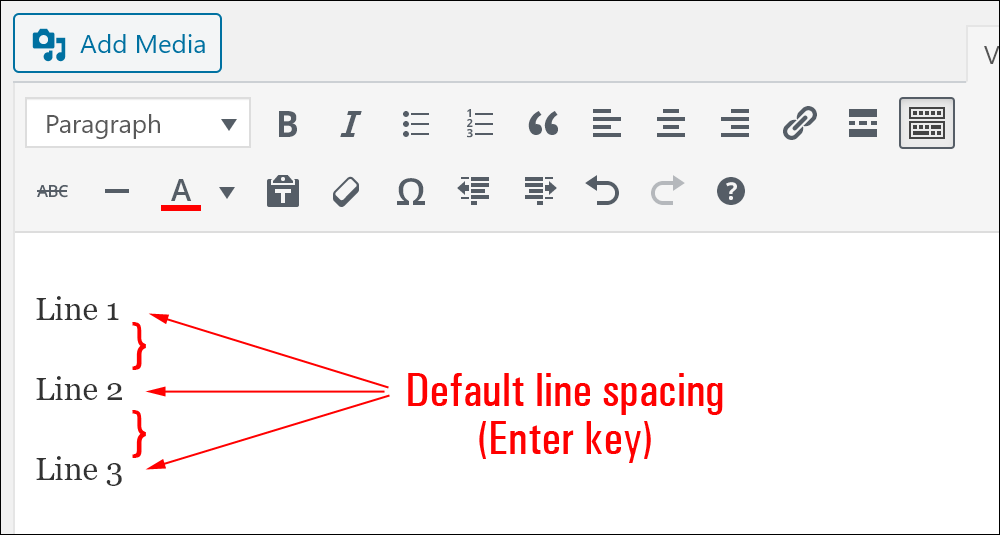 Default line spacing in WordPress using the Enter key.