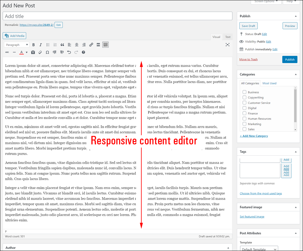 WordPress Classic editor is responsive.