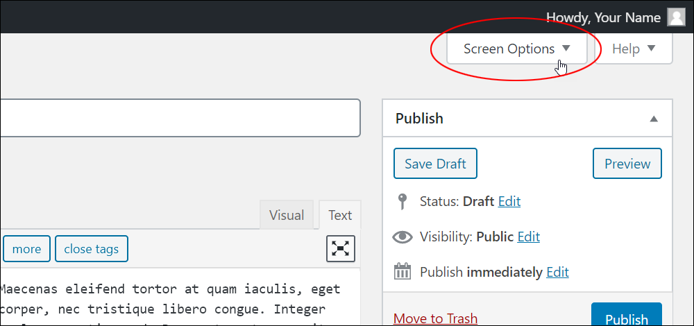 Screen Options tab.