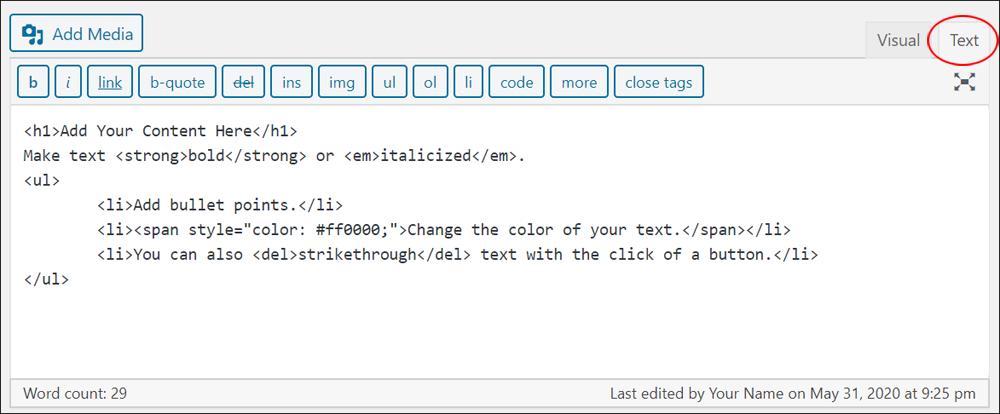 WordPress Classic Editor - Text tab.