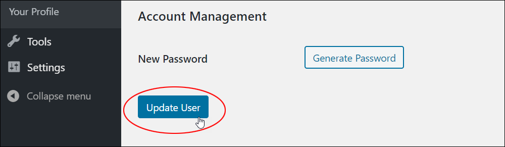 Update User button
