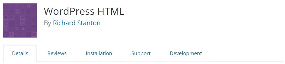 WordPress HTML plugin.