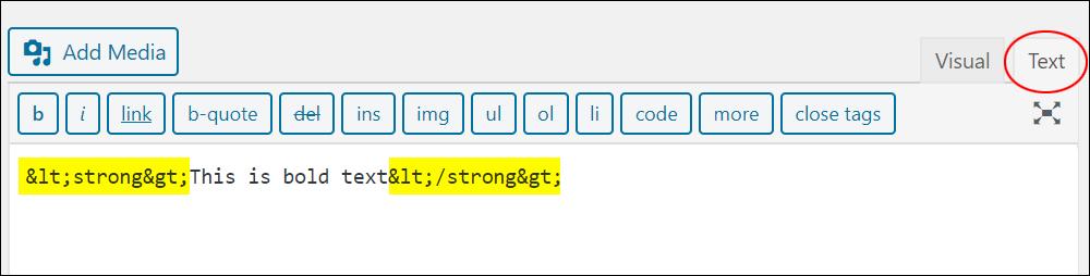 Broken HTML formatting in the Text tab.