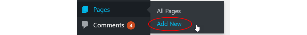 Pages - Add New menu.