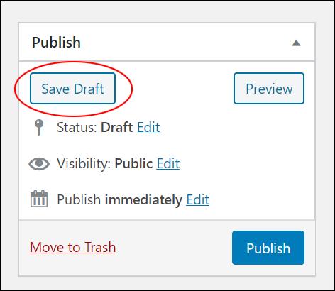 Publish box - Save Draft button.
