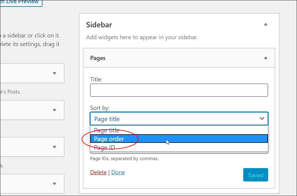 Pages Widget - Sort by: dropdown menu.