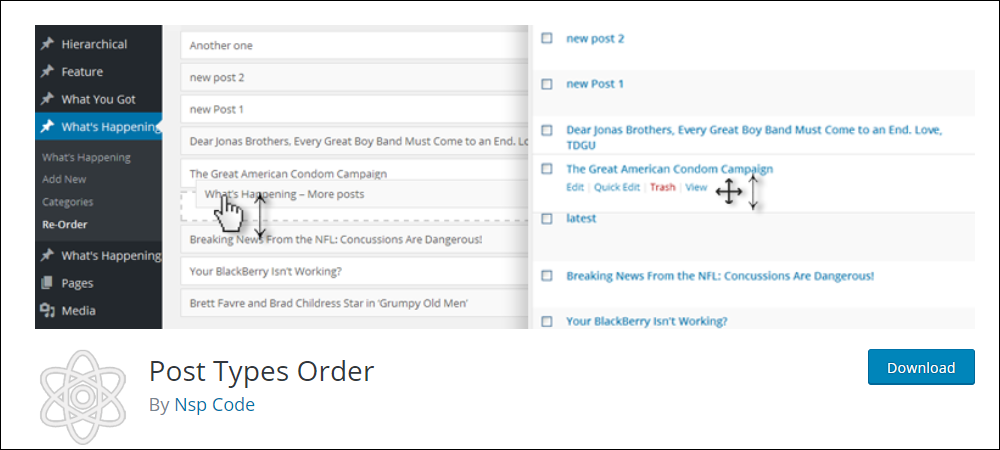 Post Types Order plugin for WordPress.