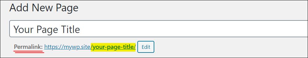 Add New Page - Permalink field.