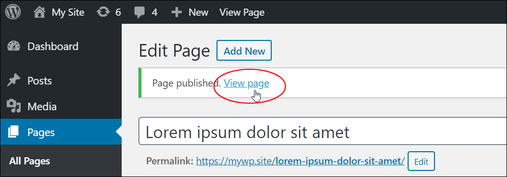 Page published notice with View page link.