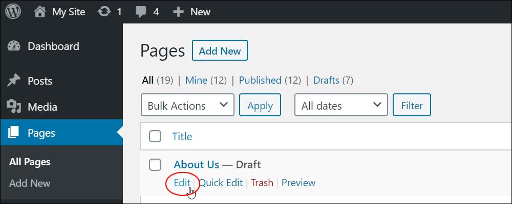 Edit Page menu link.