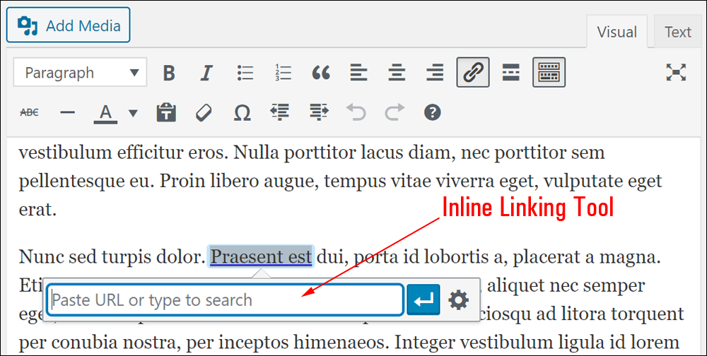 WordPress inline linking tool.
