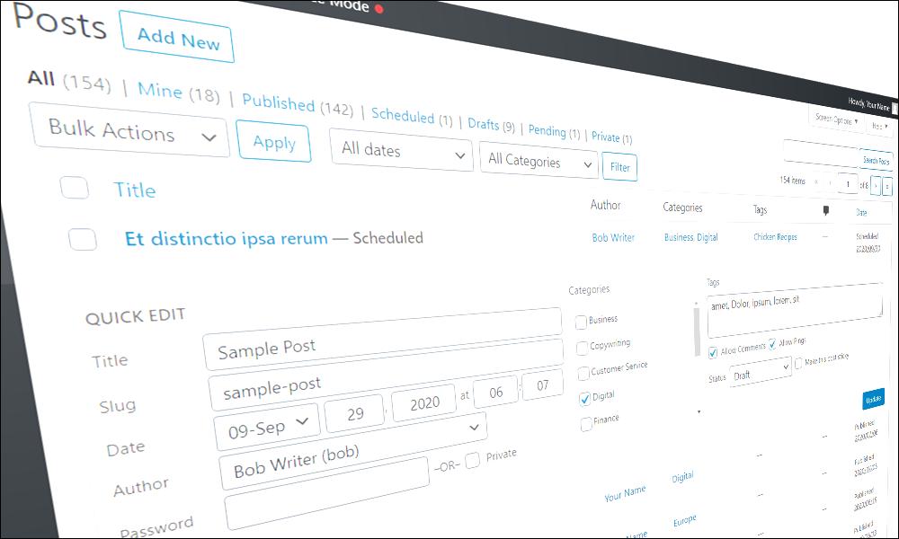 WordPress Quick Edit Screen