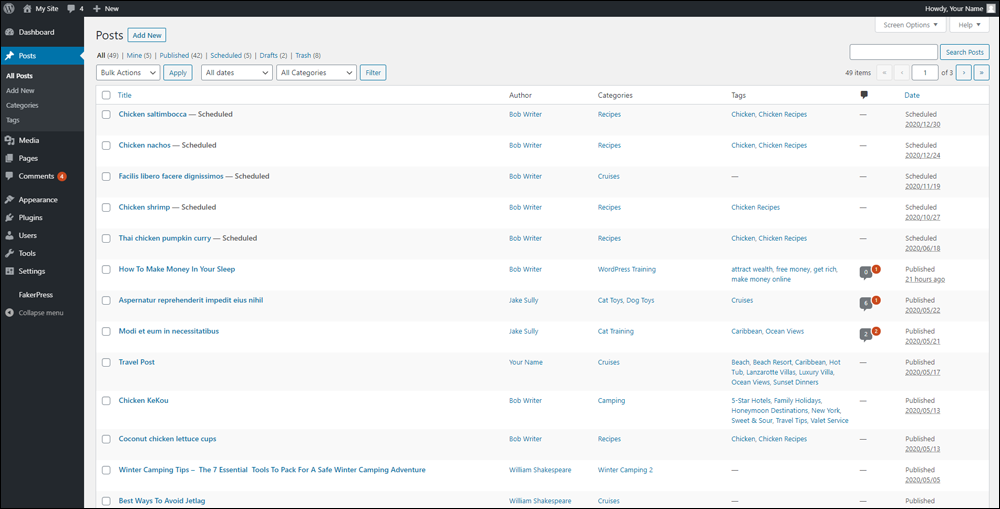 WordPress Table of Posts