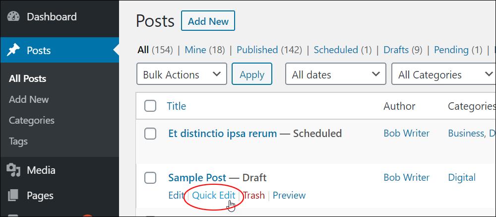 Quick Edit menu link