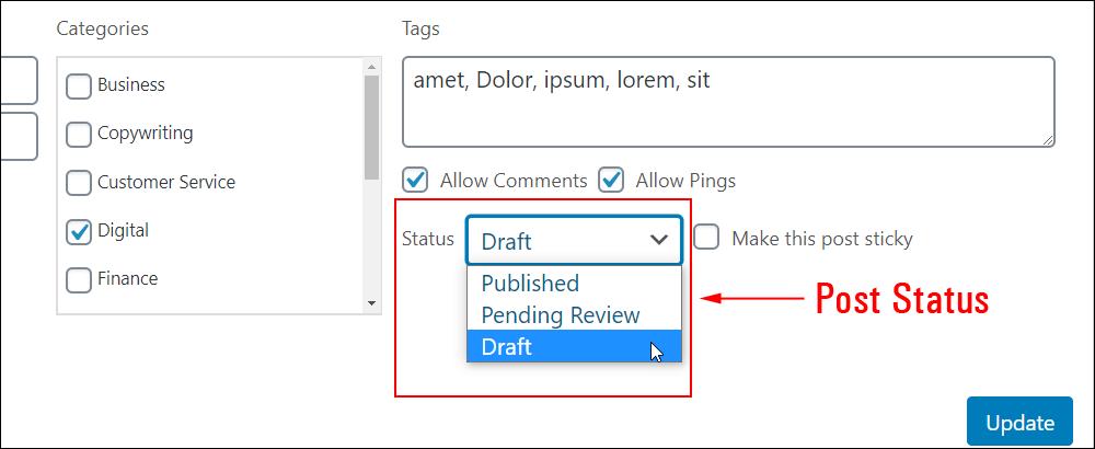 Quick Edit - Post status options