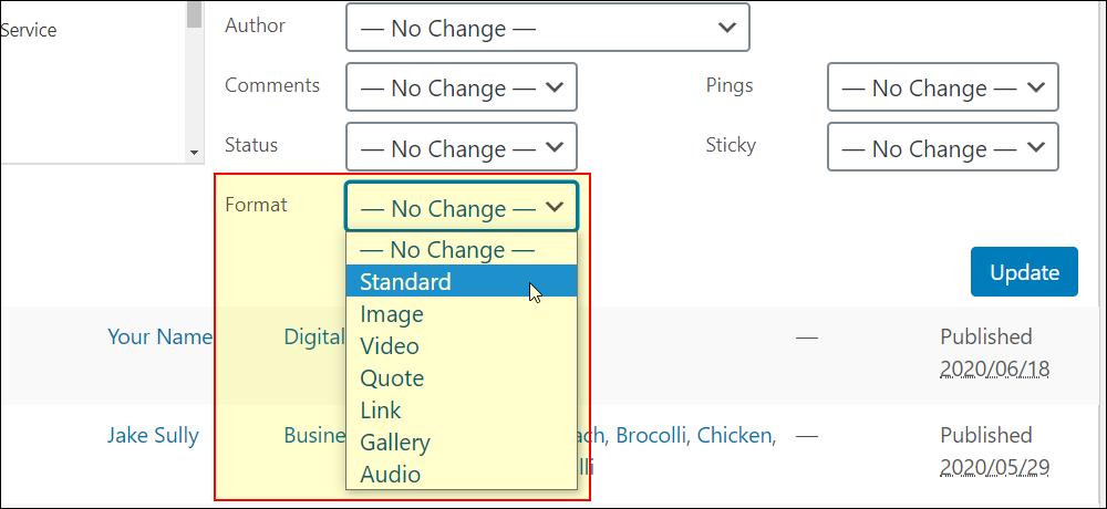 Bulk Edit screen - Post Formats