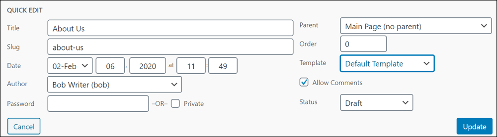 Quick Edit - Page edit options.