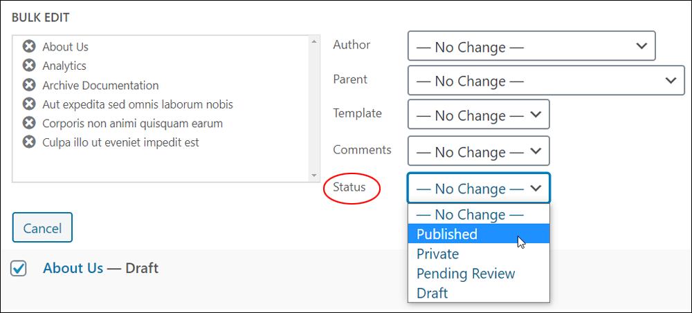 Bulk Edit options - Status dropdown menu.