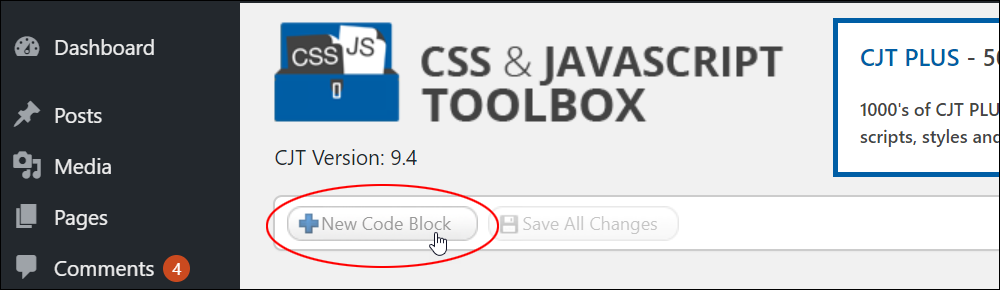 CSS & JavaScript Toolbox - New Code Block button