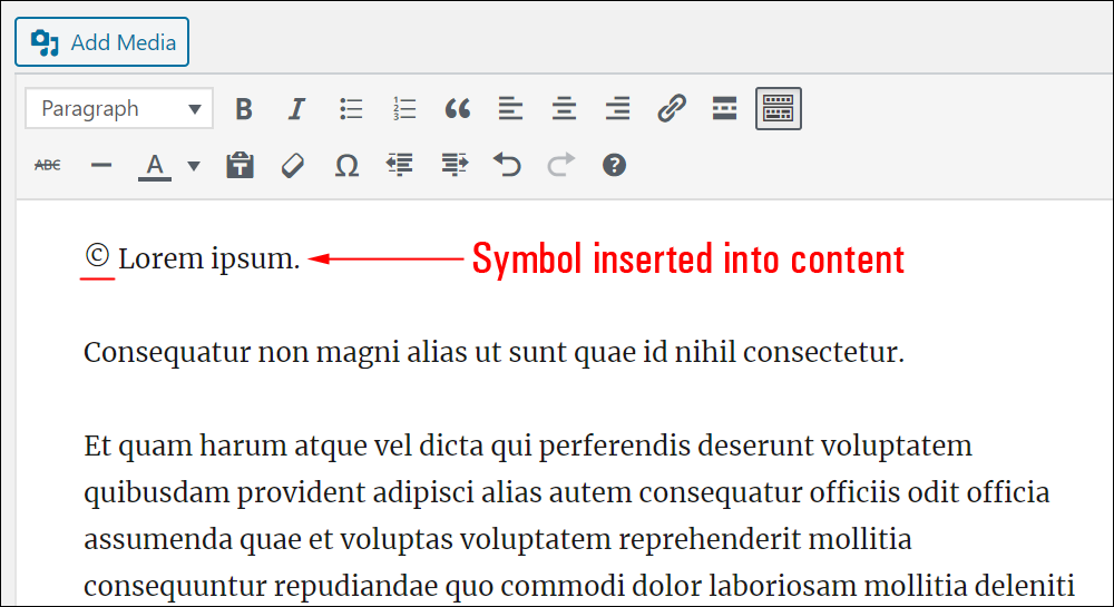 Symbol inserted into content.