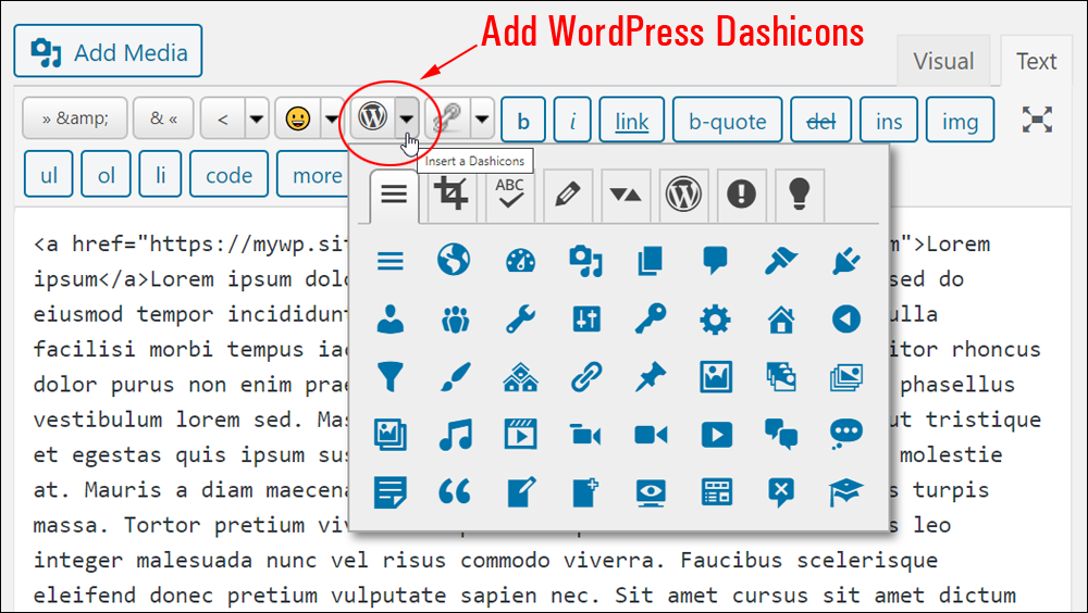 Insert WordPress dashicons.