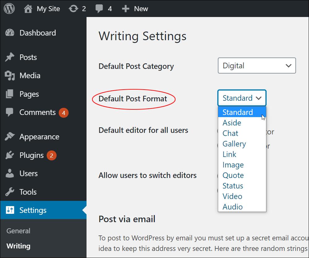 WordPress Writing Settings - Default Post Format