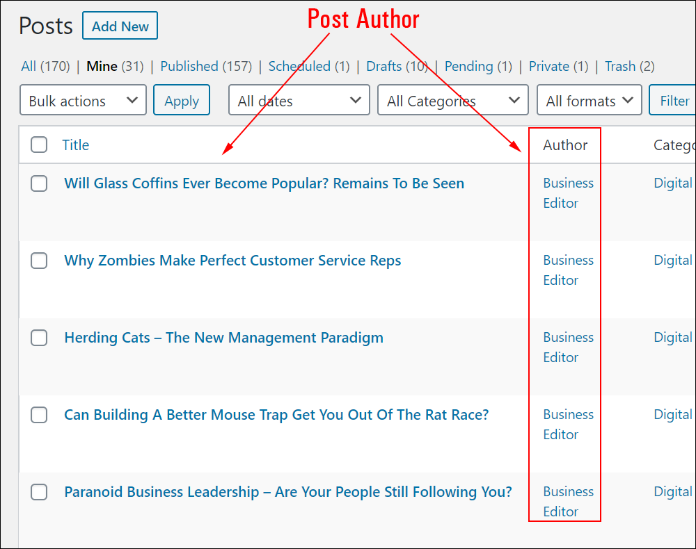WordPress Table of Posts - Post Author column highlighted