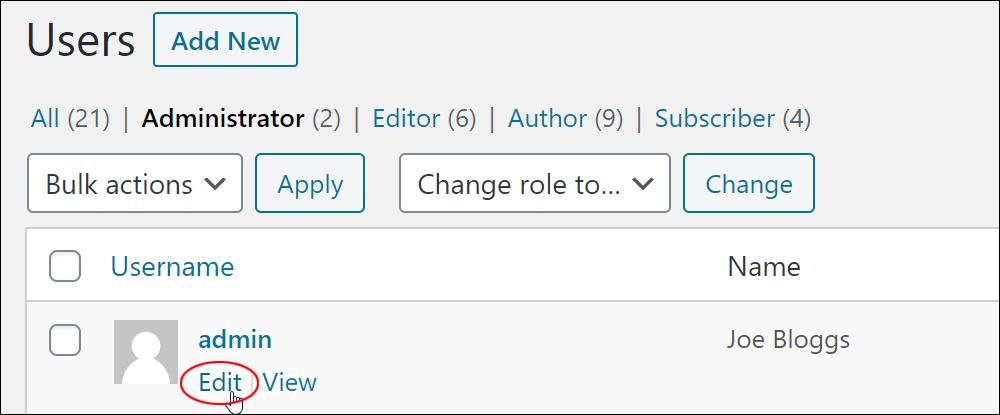Username - Edit link