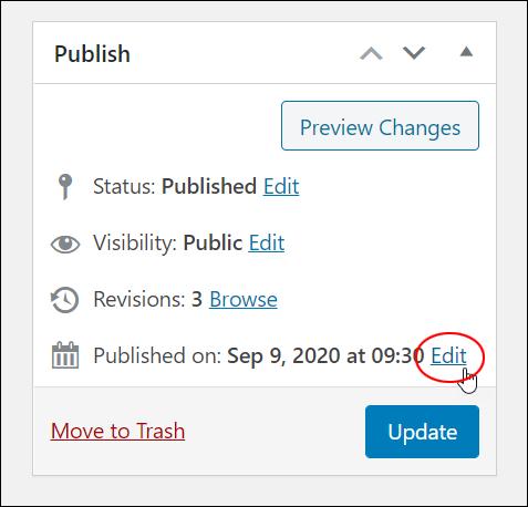 Publish box - Edit