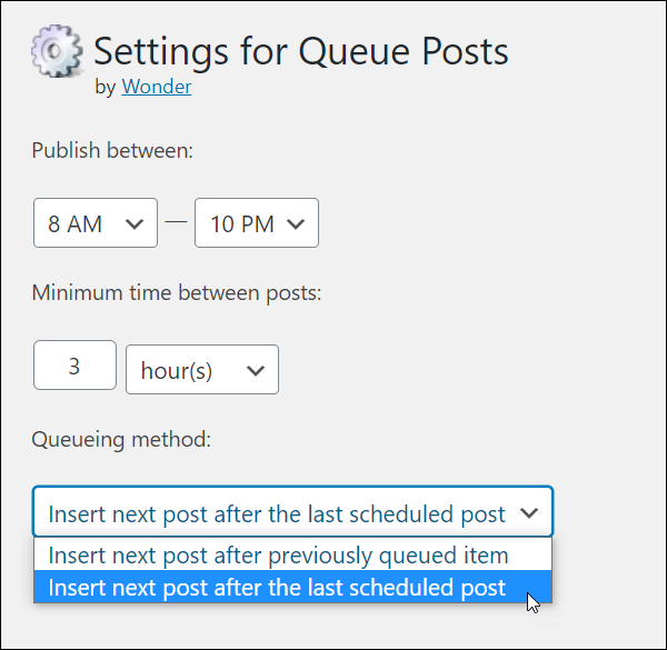 Queue Posts plugin - Settings For Queueing Posts
