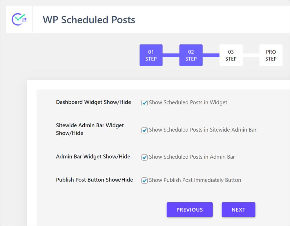 WP Scheduled Posts setup wizard.