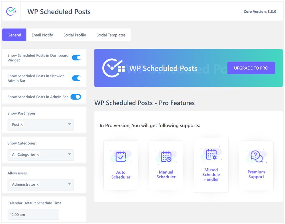 WP Scheduled Posts plugin dashboard.