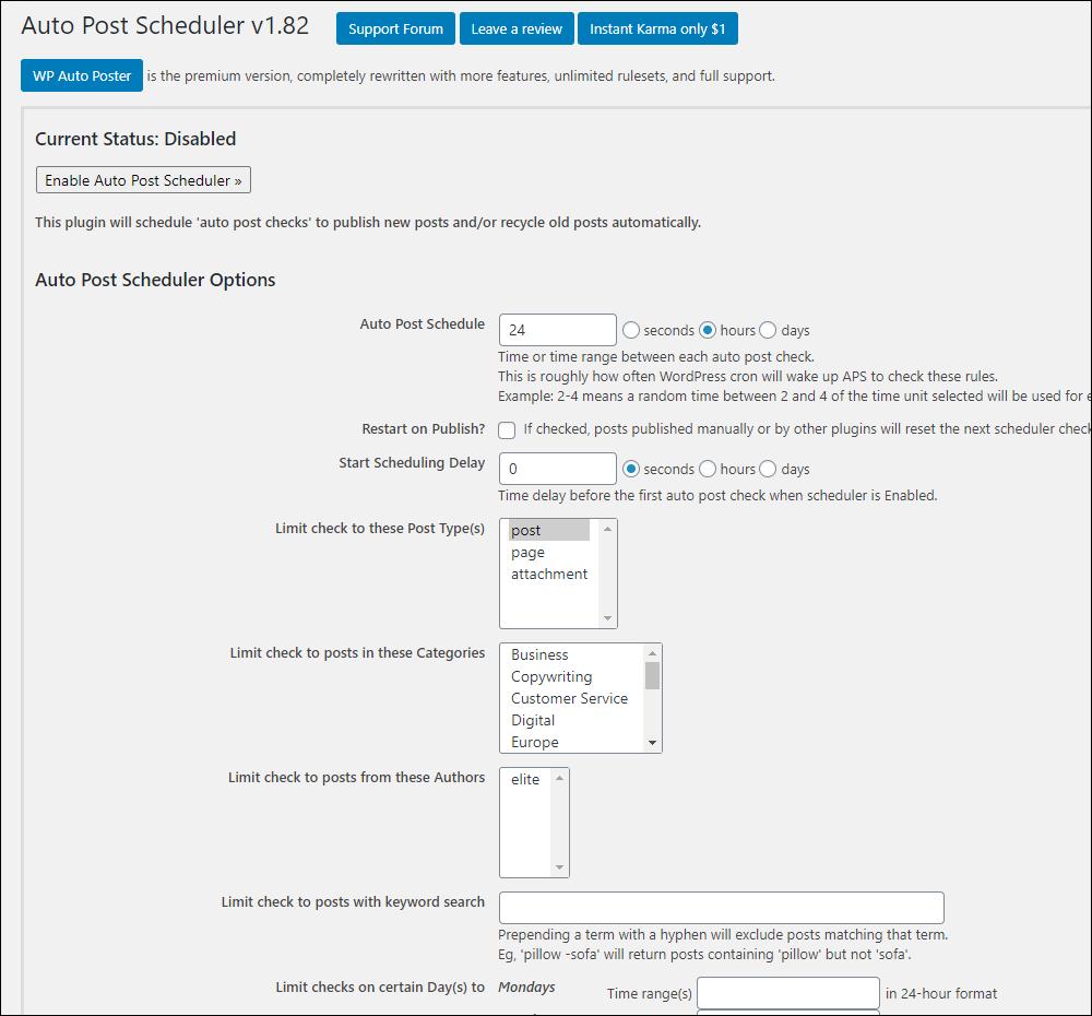 AutoPost Scheduler settings screen.
