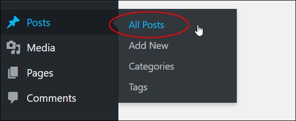 WordPress Posts Menu - All Posts