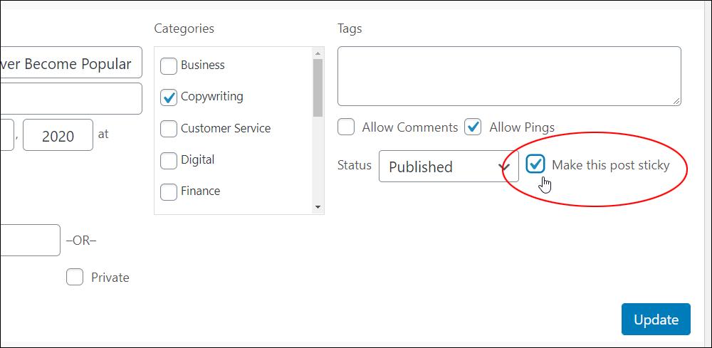 Quick Edit - 'Make this post sticky' option