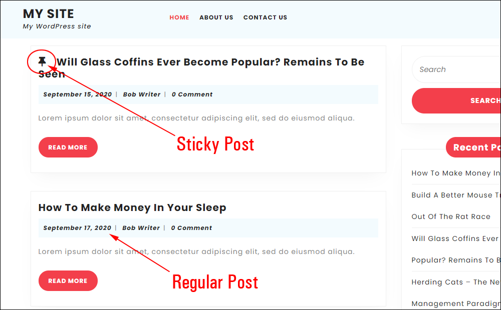 Sticky post vs regular post.