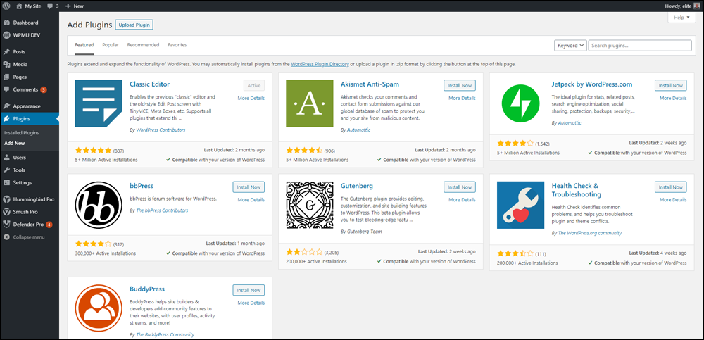 WordPress - Add Plugins screen.