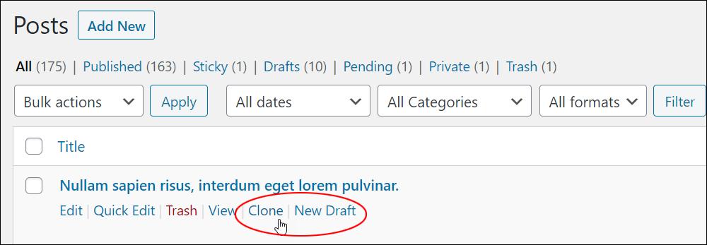 Yoast Duplicate Post plugin - Clone and New Draft links