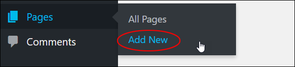 WordPress menu: Pages - Add New