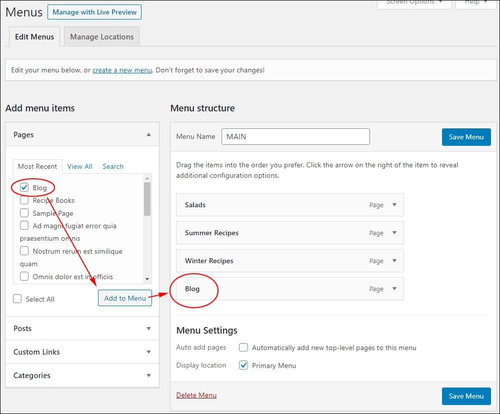WordPress Menus screen