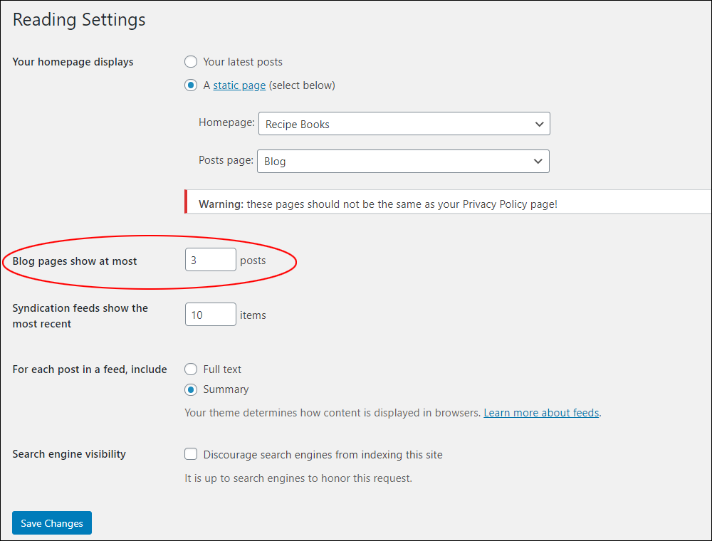 WordPress Reading Settings - Blog pages show at most field highlighted.