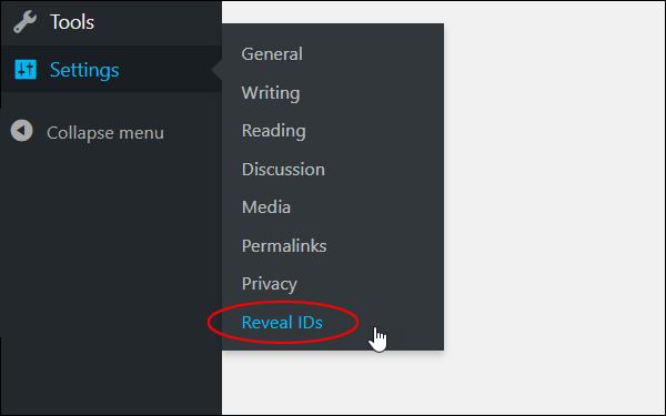 Settings menu - Reveal IDs.
