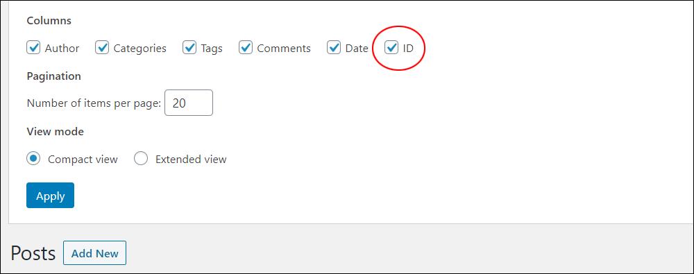 Screen Options tab - ID checkbox.